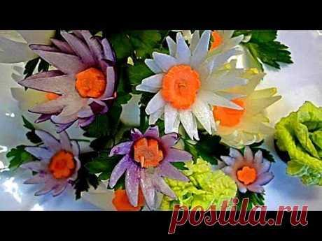 Цветы из репчатого лука. Decoration Of Vegetables - YouTube
