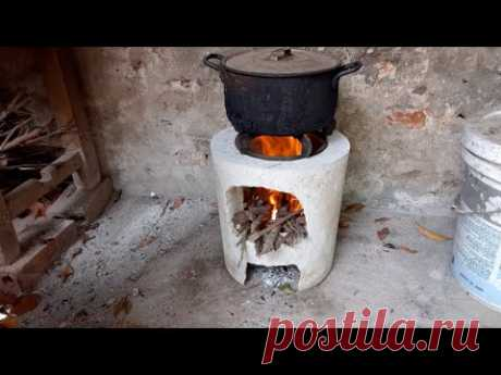 Cement Craft Ideas - How To Make A Concrete Rocket Stove From Cement At Home ?