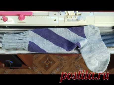 Полоски частичным вязанием. Спиральные носки. Жаккард частичным вязанием