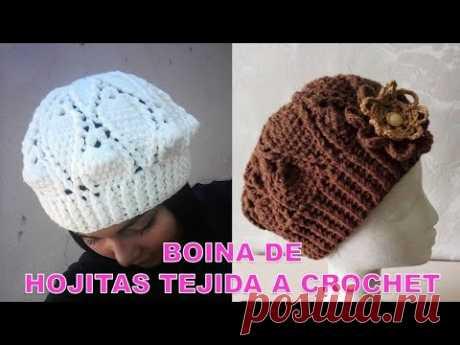 VIDEO COMPLETO de Boina tejida a crochet en punto hojitas paso a paso