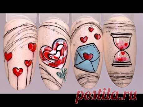 Лайфхак для мастеров маникюра❤️Простой дизайн ногтей к 14 февраля❤️Мощная бюджетная led лампа 72w - YouTube