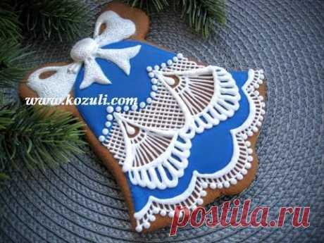Рождественское и новогоднее печенье. Роспись пряников, имбирного печенья глазурью Кружево из айсинга