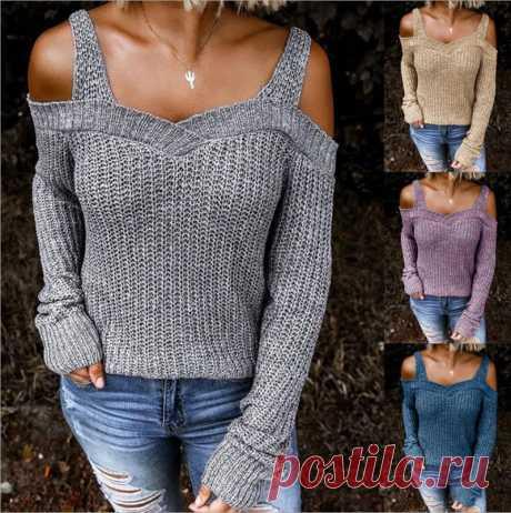 Женский осенний Новый сексуальный свитер с открытыми плечами, однотонный Повседневный свитер с рукавами реглан, красивый стильный свитер без спинки|Водолазки| Детские жаккарды| роспись по ткани | готовые выкройки |
