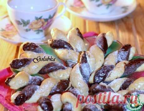 """Печенье """"Сахарные косички"""" с шоколадом – кулинарный рецепт"""