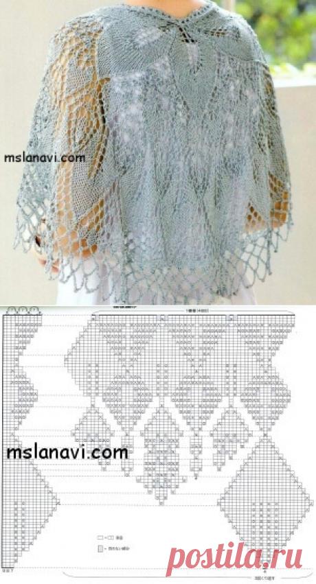 Ажурная накидка спицами схемы вязания   Вяжем с Лана Ви