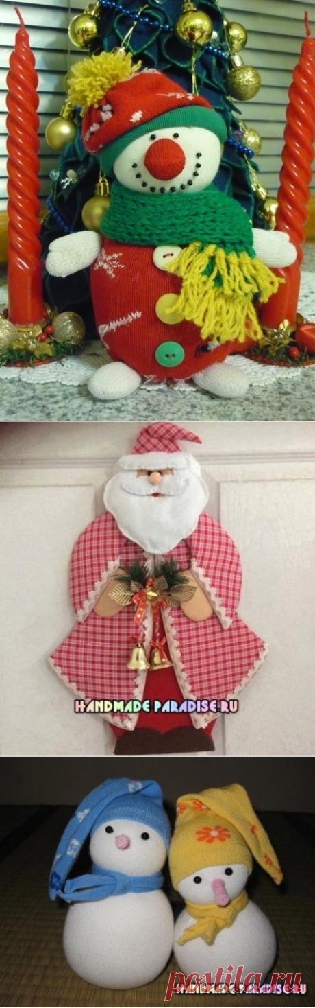 Снеговики и Дед Мороз.
