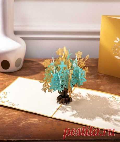 Floral Bouquet 3D Pop Up Card Gold – Lovepop