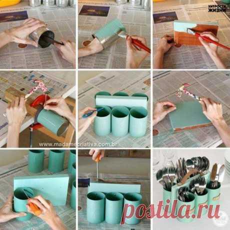 Как сделать кухонный органайзер из консервных банок