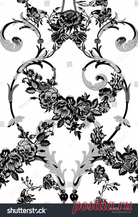 Стоковая векторная графика «Floral Lace Seamless Pattern» (без лицензионных платежей), 1213008577: Shutterstock