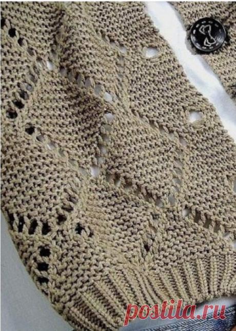 Красивейшие узоры спицами для свитеров и пуловеров 3  Двухсторонний узор  В основе узора платочная вязка,вертикальная и горизонтальная штриховка — лицевые петли. O — накид,в изнаночных рядах вязать изнанкой. Треугольник с наклоном вправо: 2 петли вместе…