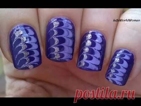 NEEDLE NAIL ART #6 - Gold & Purple DRAG MARBLE NAILS