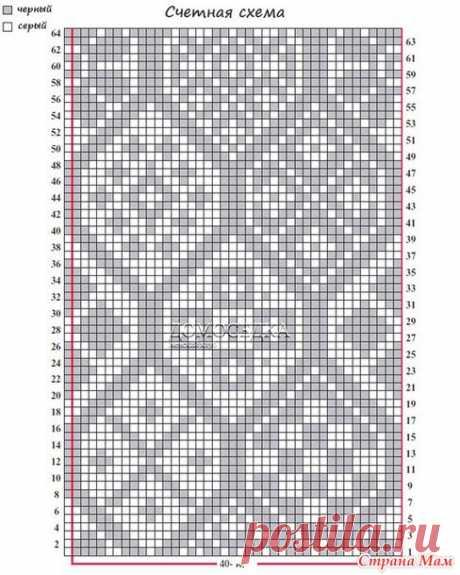 9а.Плотность вязания:    Спицами 5 мм набрать 43 п. и вязать 28 рядов: кромочн., 41 п. узора, кромочн., меняя спицы на меньший размер через каждые 28 рядов (используйте все спицы).    41 п. = 17.5 см и 28 р. = 10.5 см спицами 5 мм;    41 п. = 17 см и 28 р. = 11 см спицами 4.5 мм;    41 п. = 16 см и 28 р. = 10 см спицами 4 мм;    41 п. = 15 см и 28 р. = 10 см спицами 3.75 мм.      Схема жаккардового узора