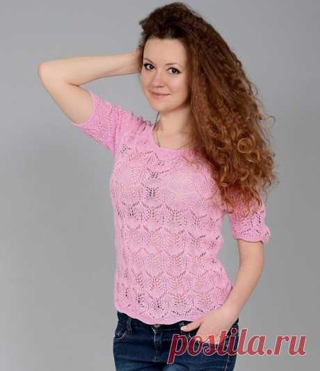 Летний розовый пуловер
