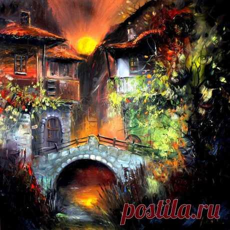 Красочные и яркие картины, изображающие дома