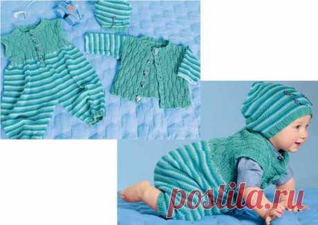 Комплект для новорожденных с комбинезоном - схема вязания спицами. Вяжем Комплекты на Verena.ru