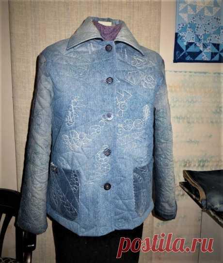 Стеганая курточка - джинсовая переделка.   Я арт квилтер   Яндекс Дзен