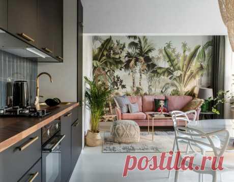 Необычная планировка и джунгли в гостиной: необычный красивый интерьер квартиры площадью 44 м² | Architect Guide | Яндекс Дзен