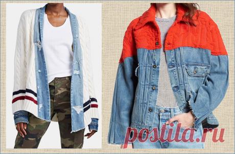 Очередной пост про переделку старых джинсов: вязание с тканью и добавление кофточек - - утепляемся - 30 примеров и идей   МНЕ ИНТЕРЕСНО   Яндекс Дзен