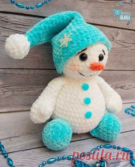Плюшевый снеговик крючком амигуруми   AmiguRoom