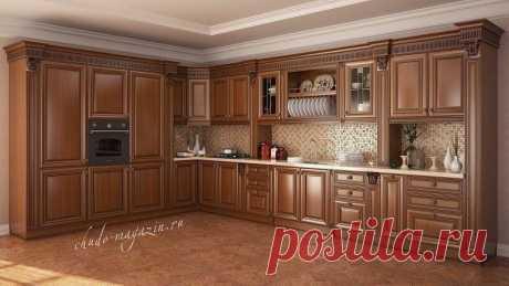Угловая кухня из массива красной ольхи с духовым шкафом купить по цене 62 000 руб. за п/м. в Москве— интернет магазин chudo-magazin.ru