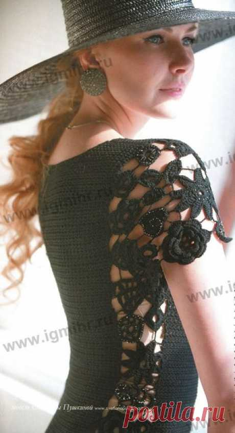 Вязаное черное платье крючком (описание + схемы) | razpetelka.ru