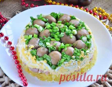 Салат «Грибная поляна» с шампиньонами: рецепт с фото   Легкие рецепты