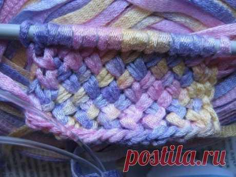Узор для вязания ленточной пряжей