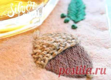 Как вышить желудь декоративными швами