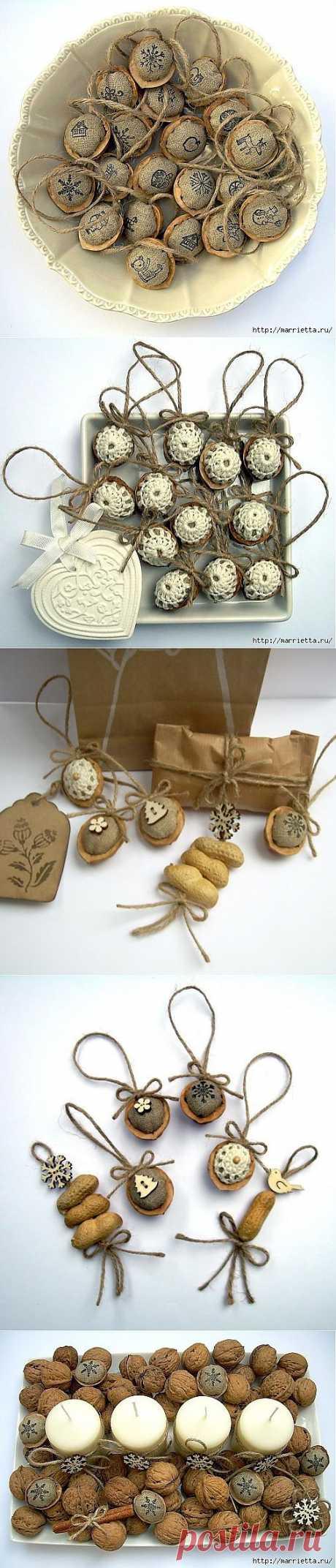 Арахис и грецкие орешки для упаковки новогодних подарков.