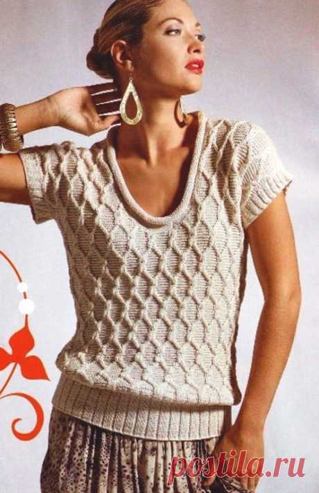 Пуловер с коротким рукавом и узором ромбы