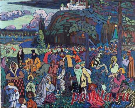 """В 1907 году русский художник Василий Кандинский создал полотно """"Пёстрая жизнь"""", основанное на символических образах Древней Руси."""