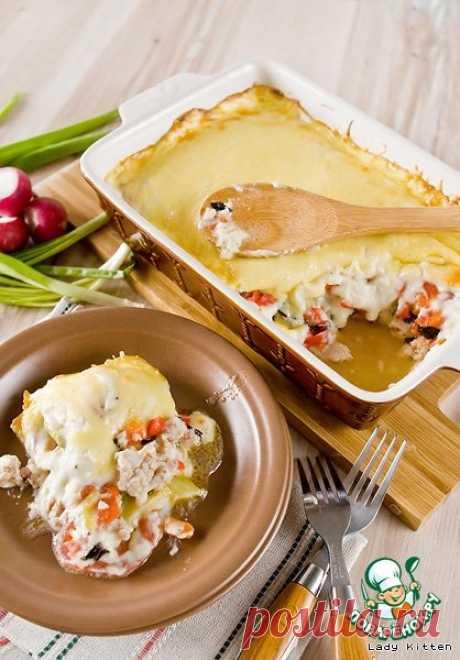Гратен с фаршем и овощами Кулинарный рецепт