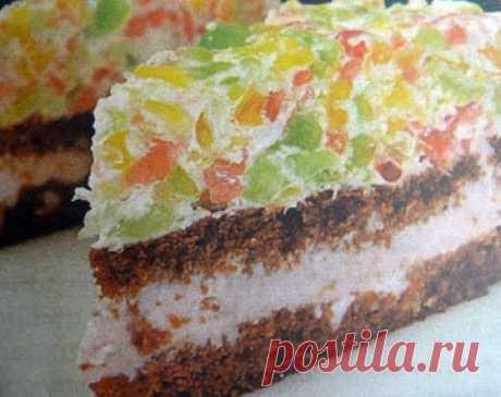 """Желейный торт без выпечки """"Радуга"""""""