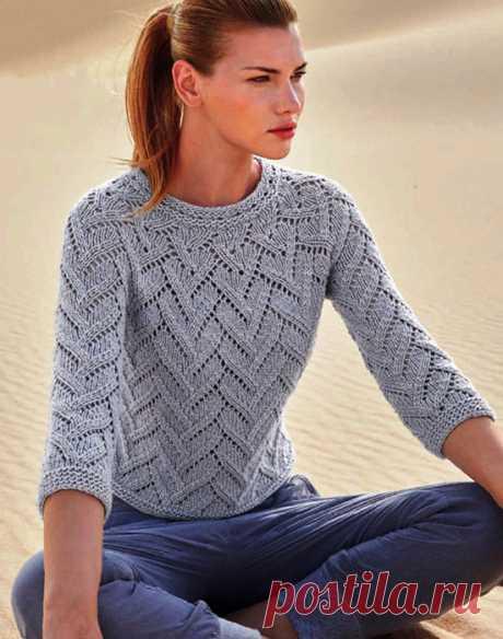 Женский пуловер Растущая спицами сверху вниз – схемы вязания с описанием