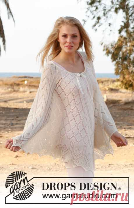 Knitted DROPS poncho with lace pattern in BabyAlpaca Silk or Lace. Size: S - XXXL.