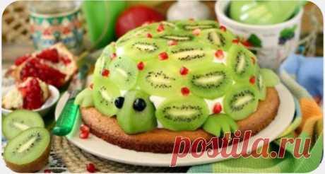 """Гости в восторге: яркий и праздничный торт """"Изумрудная черепаха"""""""