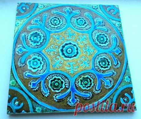 плитка бирюзовая орнамент восточный, плитка бирюзовая, восточный орнамент на плитке, плитка марокканская, плитка ручной работы, плитка керамическая ручной работы