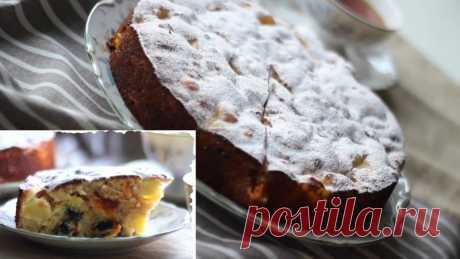 Пирог с яблоками, изюмом и курагой в духовке — Кулинарная книга - рецепты с фото