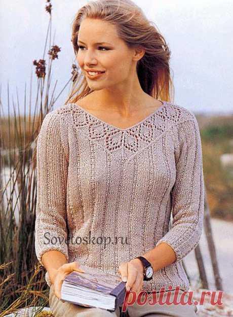 Пуловер с ажурной планкой