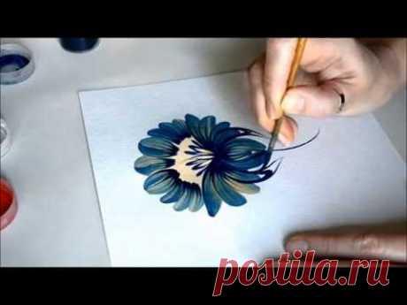 La lección de la pintura Petrikovsky. Etapa por etapa la flor (Petrikovka Ukraine)