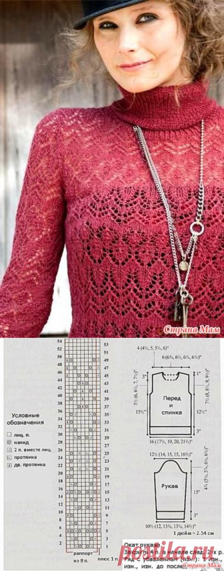 Ажурная водолазка спицами из журнала Vogue - Вяжем вместе он-лайн - Страна Мам