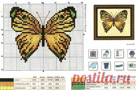 Схема вышивки крестом бабочки: бесплатные цветы, маленькие.