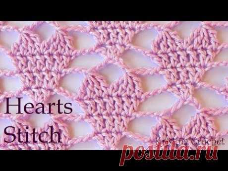 Hearts stitch Easy Crochet Pattern (English)