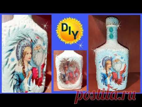 Морозный рисунок из оконного утеплителя на новогодней бутылке. DIY/рукоделие