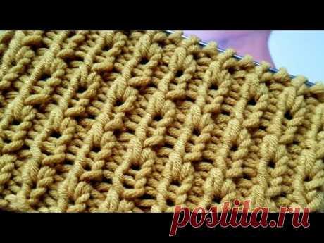 Вяжем фактурный узор на основе резинки 🤷♀️  knitting pattern.