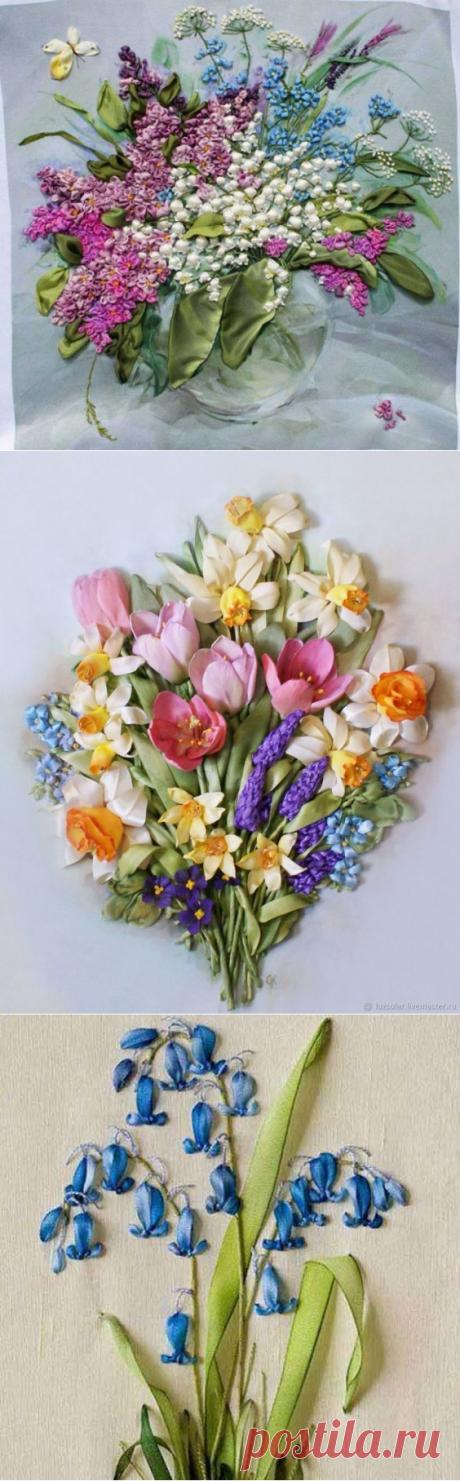 Вышивка лентами весенних цветочков: идеи и техники для создания незабываемых картин
