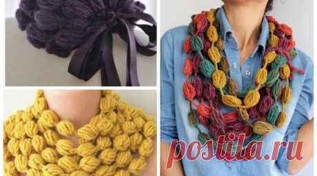 Необычные шарфы и снуды крючком из цепочки пышных столбиков — SamantaWay