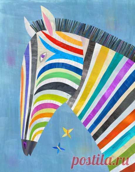 Colorful Zebra Canvas Art Print Illustration for Kid's | Etsy
