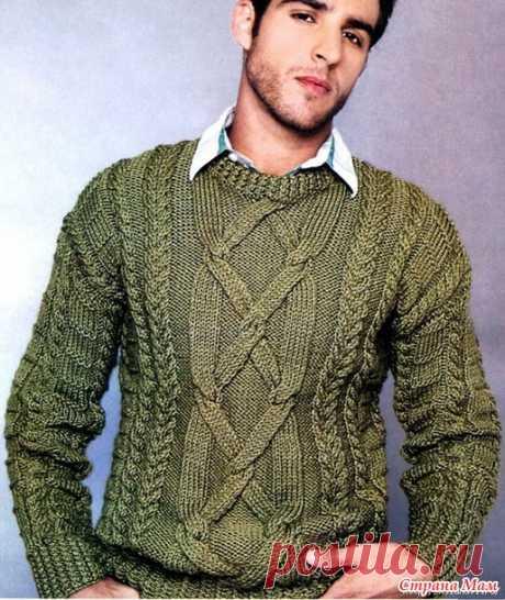 Мужской свитер спицами - Вязание - Страна Мам