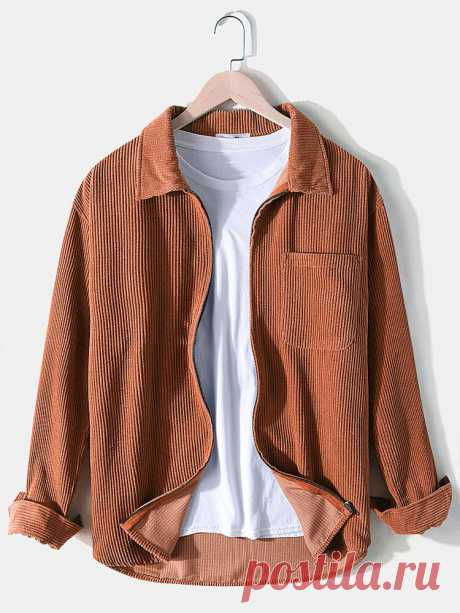 Banggood Design Corduroy Mens Solid Color Long Sleeve Casual Shirts With Pocket - US$26.99
